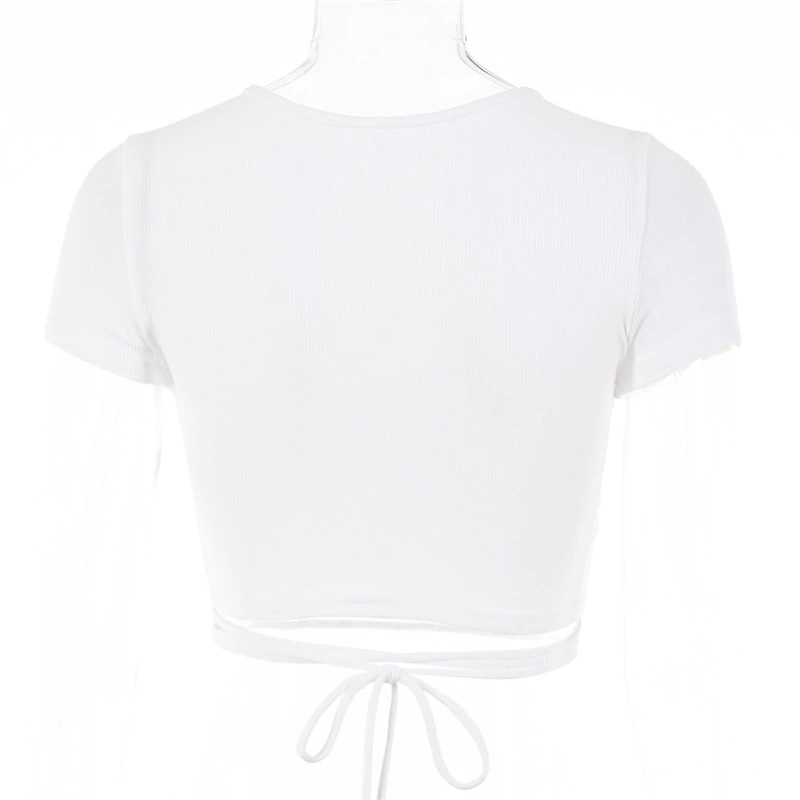 Sexy Hollow Out Bandage Rib Knitted Crop Tops 14