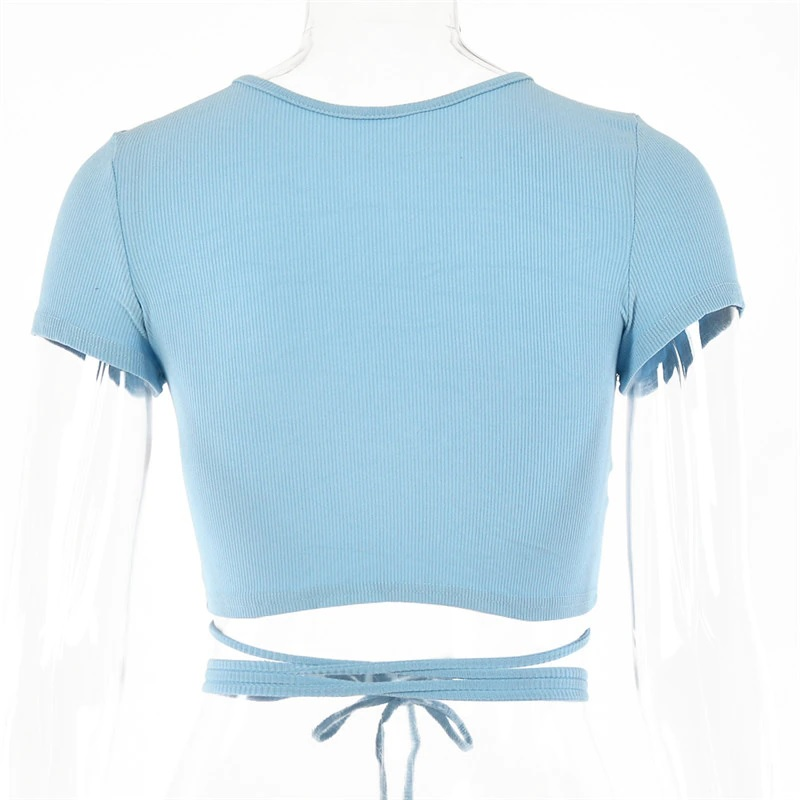 Sexy Hollow Out Bandage Rib Knitted Crop Tops 16