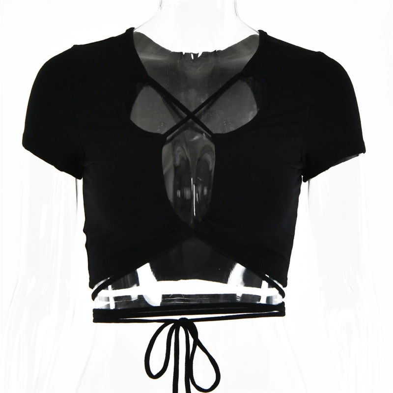 Sexy Hollow Out Bandage Rib Knitted Crop Tops 17
