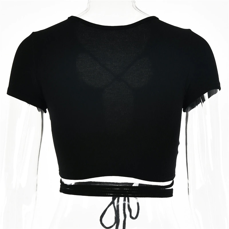 Sexy Hollow Out Bandage Rib Knitted Crop Tops 19