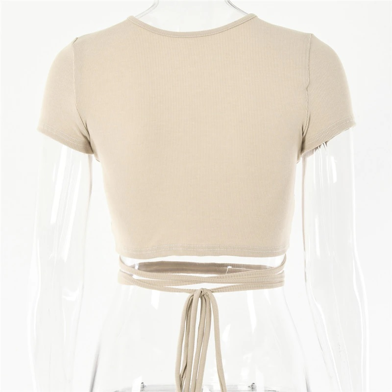 Sexy Hollow Out Bandage Rib Knitted Crop Tops 7