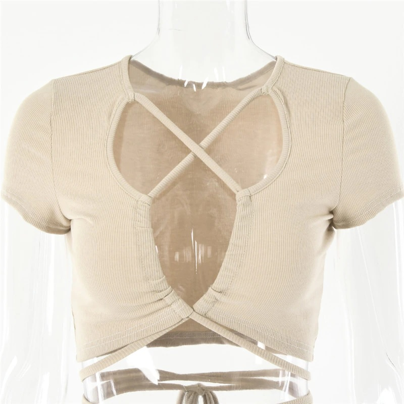 Sexy Hollow Out Bandage Rib Knitted Crop Tops 8