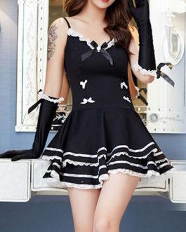 Sexy Maid Costume Ruffle Bowknot Servant Girl Costumes