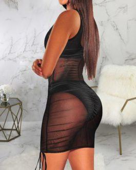 Sexy Perspective Gauze Night Club Sleeveless Dress