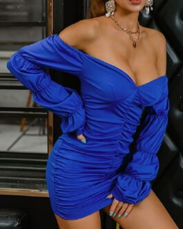 Sexy Pure Ruched Long Sleeve Bodycon Dress