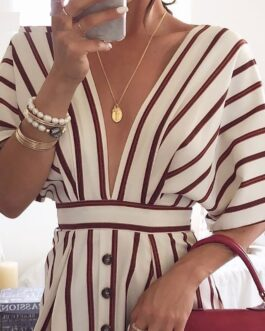 Short Sleeve Deep V neck Elegant Stripe Print Dress