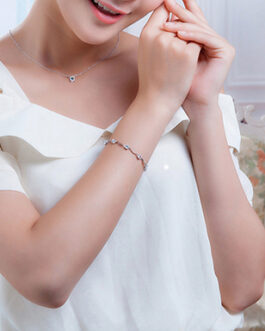 Silver Cubic Zirconia Wavy Bracelet