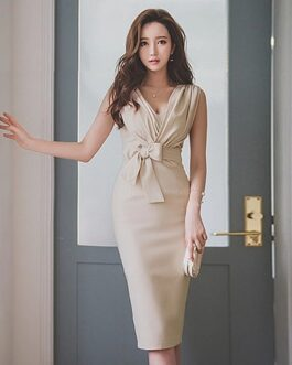 Sleeveless V-neck Elegant Body con Formal Party Pencil Dresses