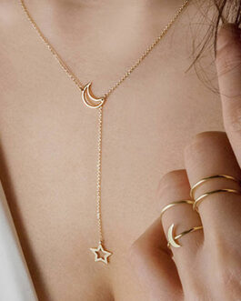 Small Link Chain Drop Accent Necklace Outline Moon Star Accents and Rings