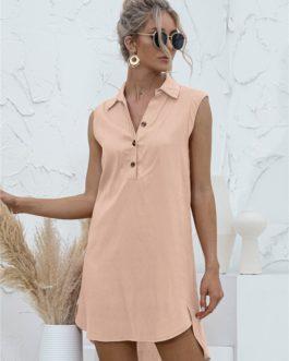 Solid Patchwork Slit Blouse Dresses