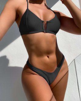 Solid V Neck Tank Bikini Sets With Zipper