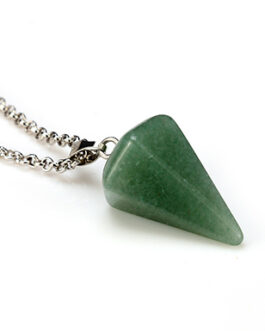 Spearhead Gemstone Necklace Pendulum Crystal Style Silver Chain Link