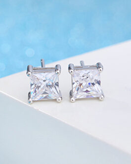Square Cubic Stud Earrings 925 Sterling Silver