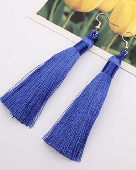Tie Dye Effect Double Tassel Dangling Earrings Metal Trim