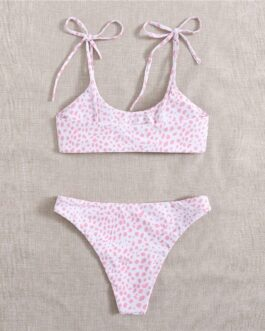 Tie Shoulder Bikini Swimsuit Spaghetti Strap High Cut Beach Cute Bikinis Set