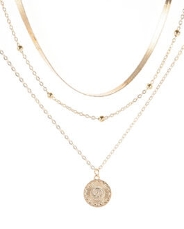 Triple Chain with Gemstone and Ornamental Medallion