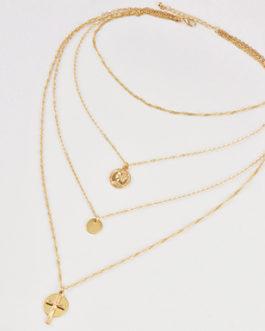 Twist Braid Choker and Three Necklaces Three Gold Medallions Cross Charm