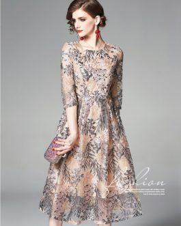 Vinatge Tulle Lace Floral Dress O Neck Half Sleeve Flower Slim Party Vestidos