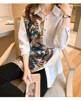 Vintage Patchwork Cut Out Print Shirts Long Sleeve Blouse Fashion Chic Top