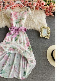 Sexy Beach Slash Neck Ruffles Flora Print Chiffon Long Dress