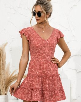 Youthful V Neck Dot Printed Ruffle Short Dresses