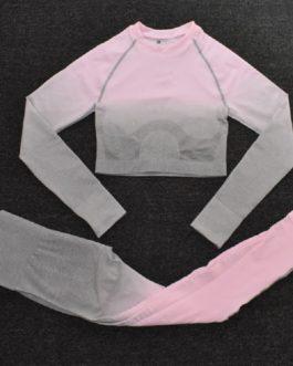2Pcs Long Sleeve Fitness Crop Top Shirts Pants Yoga Set