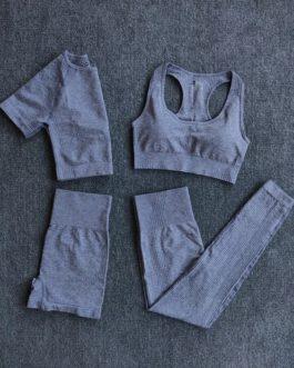 4Pcs Fitness Shorts Sleeve Crop Top High Waist Leggings Sports Suits
