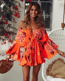 Bateau Neck Half-Sleeve Floral Print Polyester Beach Dress