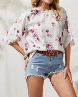 Bohemian Casual Flower Print Slit T-shirts