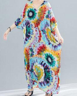 Bohemian Tie Dye Print V-Neck Holiday Long Dress