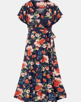 Calico Print V-Neck Short Sleeve Dress With Belt