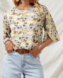 Casual Bohemian Flower Print Slit T-shirt