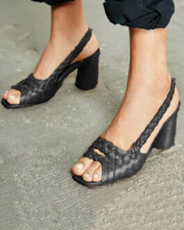 Casual Braided Open Toe Slip On Chunky High Heel Sandals