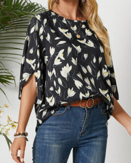 Casual Calico Flowers Print O-Neck Blouse