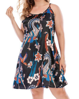 Casual Ethnic Print Straps Mini Dress