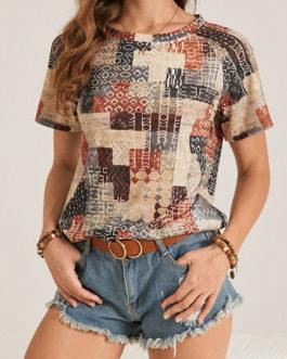 Casual Geometric Print Short Sleeve T-Shirt