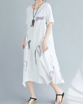 Casual Vintage O-Neck Short Sleeve Midi Dress