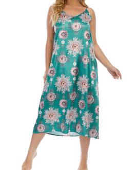 Casual Vintage Print Straps Midi Dress