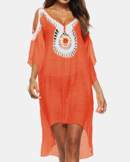 Crochet Embroidery Hollow Out Beaches Holiday Dress