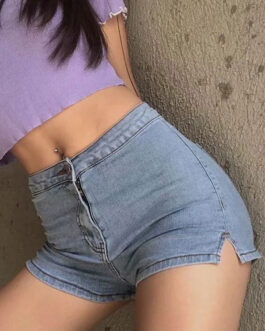 Denim Split Front Cotton Casual Straight Shorts