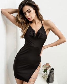 Designed Neckline Chains Split Polyester Sexy Bodycon Dress