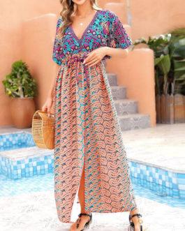 Ethnic Pattern Deep V Maxi Dress Cover Ups Swimsuit