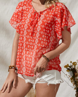 Floral Print Knotted Ruffle Short Sleeve V-Neck Blouse