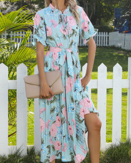 Flower Print O-Neck Knotted Pleated Dress with Belt