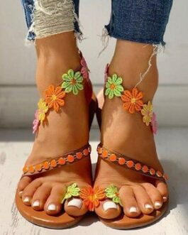 Flowers Wrap Around Ankle Comfortable Clip Toe Flat Sandals
