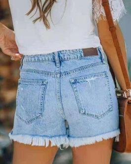 Fringe Denim Casual Solid Color Skinny Button Fly Short Pants
