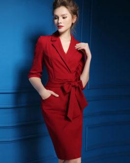 Half Sleeve Polyester Bodycon Work Dress