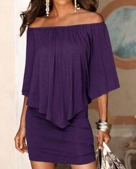 Half Sleeves Bateau Neck Polyester Sheath Bodycon Dresses