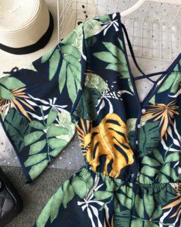 Korean Sexy Chiffon Tunic Floral Print Jumpsuit