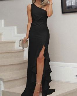 One Shoulder Sleeveless Ruffle Floor Length Maxi Dresses